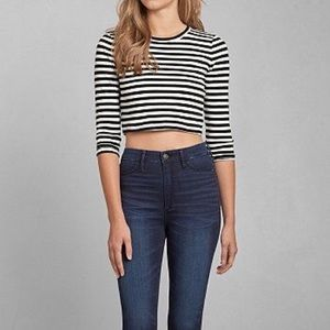 Abercrombie & Fitch Striped Mandi Crop shirt